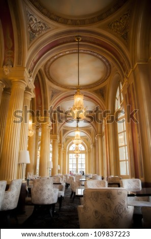 classic interior with golden columns, Bordeaux