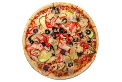 Classic italian vegetarian pizza with cheese, mushrooms, olives, zucchini and tomatoes. Isolated on white. Top view