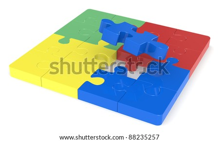 Classic jigsaw Puzzle. Last piece. Red, green, yellow and blue.
