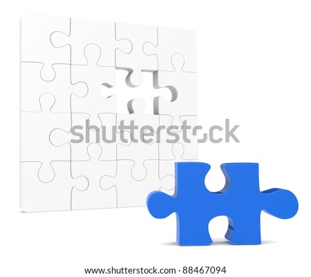 Classic Jigsaw Puzzle. One missing piece, Blue