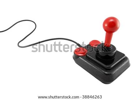Classic joystick on white background