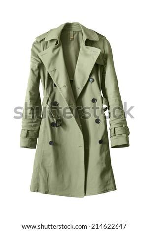 Classic khaki trench coat isolated over white Stock photo ©