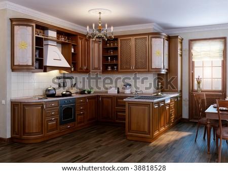 Classic kitchen. Interior design idea.Computer graphic rendering. Cherry wood texture