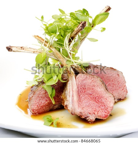 Classic lamb chops plate served french style