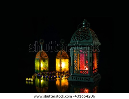 Classic lanterns of Ramadan Background #431654206