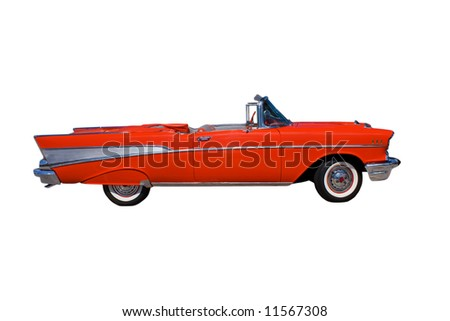 classic, large, American red convertible streetrod on white
