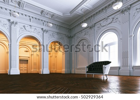 Classic leather sofa in big luxurious mansion. Perspective view. 3d render