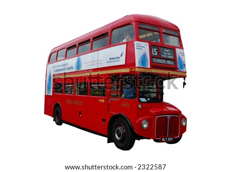 Classic London Bus isolated over white