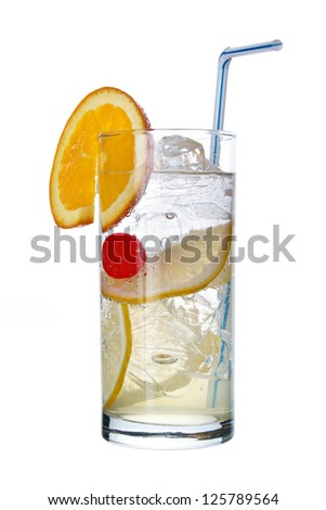 Classic long drink, Tom Collins , with orange slice , isolated on white