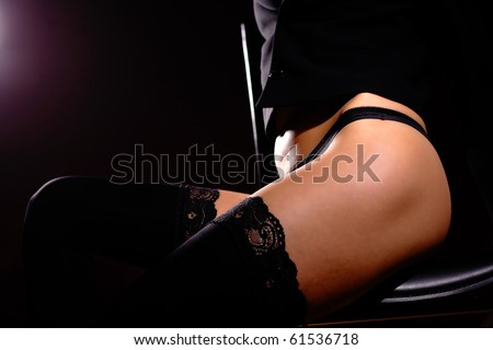 classic low key photo of sexy woman body - stock photo