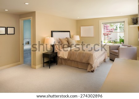 Classic luxury bedroom with decoration and beige carpet with window