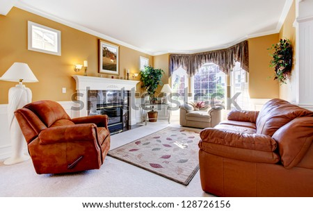 Classic luxury cozy living room interior with fireplace and leather.