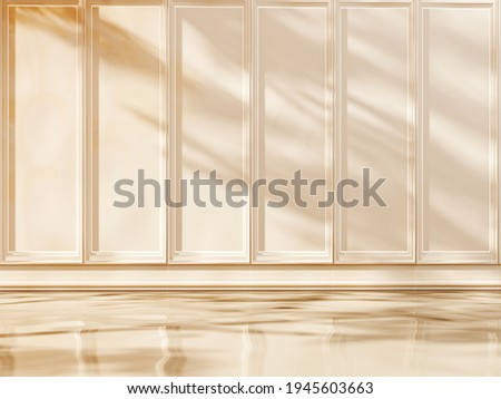 Classic, luxury, empty room with decorative stucco molding, panels.Exhibition Podium, stand, showcase on pastel background for premium product - 3D render.  Studio with geometric objects.