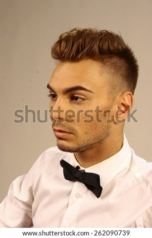 classic man portrait with hairdress, hairdresser, isolate on white background