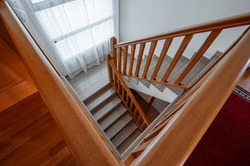 Classic Marble Stairs with Wooden Railing