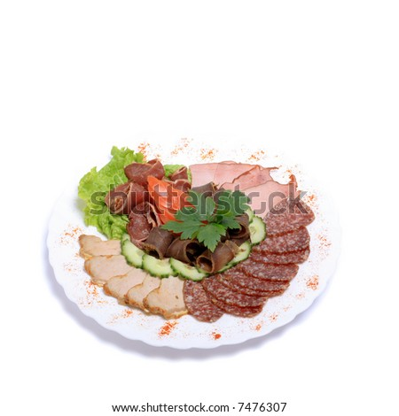 classic meat plate isolated on white background