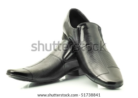 Classic Men s patent-leather shoes isolated over white background