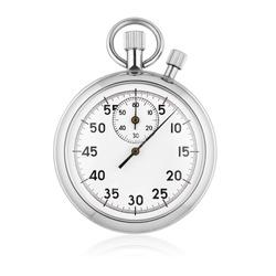 Classic metallic chrome mechanical analog stopwatch isolated on white background.