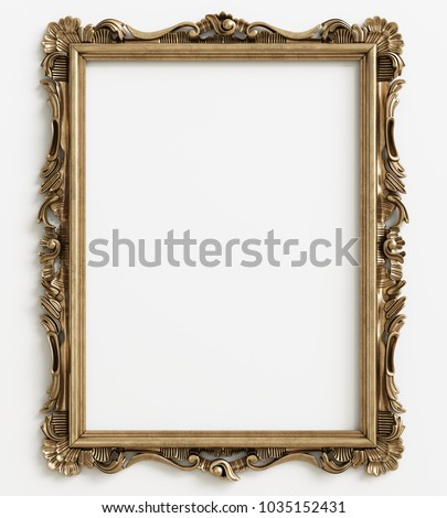 Classic mirror frame on white background.Digital illustration.3d rendering