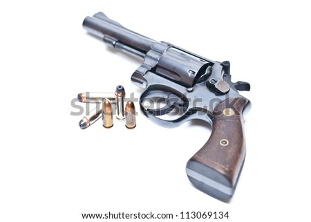 Classic .38mm revolver handgun with bullets on white background.