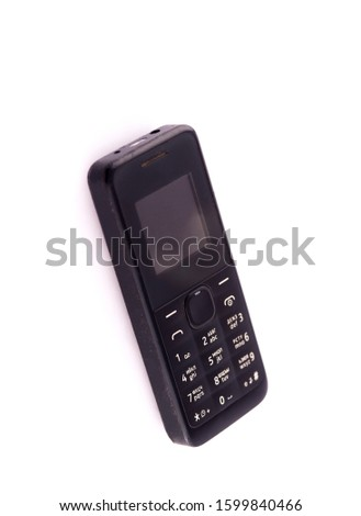 Classic mobile cell phone. Old mobile cell phone Cell phone on white background.