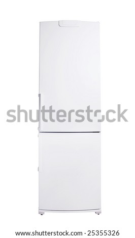 classic model of refrigerator isolated on white