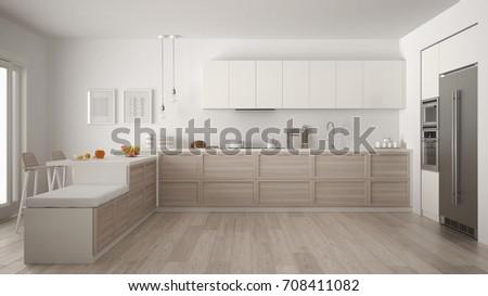Classic modern kitchen with wooden details and parquet floor, minimalist white interior design, 3d illustration