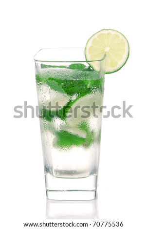 Classic Mojito Cocktail drink with light rum, lime, spring of mint, club soda and syrup in cocktails highball glass isolated on a white background