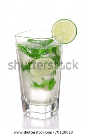 Classic Mojito Cocktail drink with light rum, lime, spring of mint, sprite soda and syrup in cocktails highball glass isolated on a white background