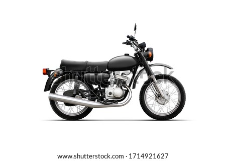 Classic motorcycle on white background isolated