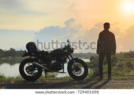classic motorcycle with a man...
