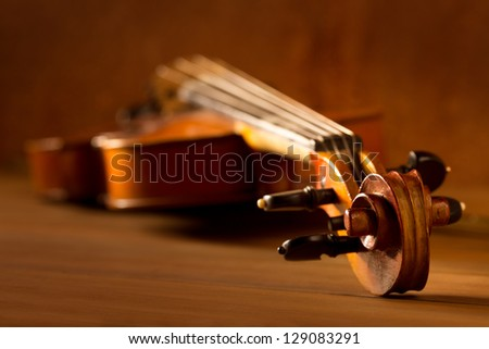 Classic music violin vintage in wooden golden background
