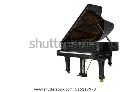 classic musical instrument black piano isolated on white background #516117973