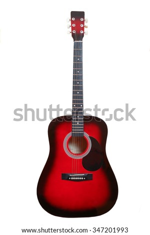 classic musical instrument wooden six-string guitar red isolated on white background #347201993