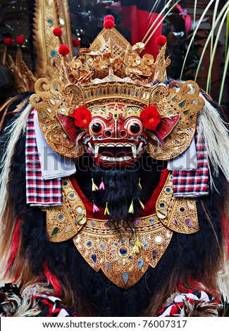 Classic national Balinese dance Barong, close up of Barong