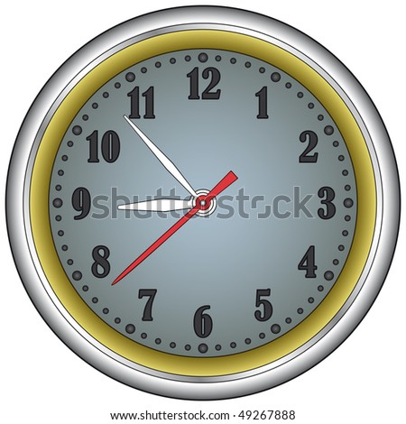 Classic office clock in a steel frame. Vector without mesh