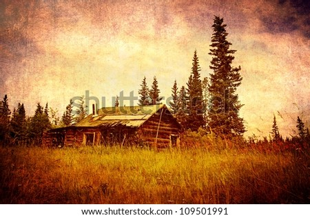 Classic old Alaskan abandoned log cabin in summer with textures added for a vintage look.