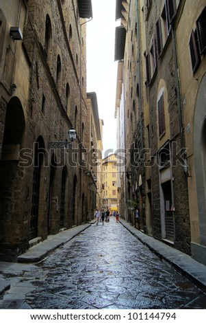 Classic old street in the center of Florence, Italy