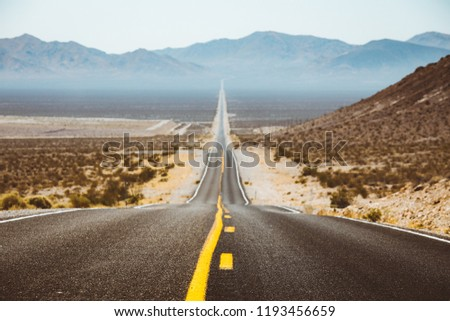 Classic panorama view of an endless straight road running through the barren scenery of the American Southwest with extreme heat haze on a beautiful sunny day with blue sky in summer #1193456659