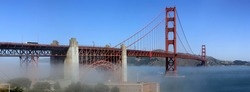 Classic panoramic view of famous Golden Gate Bridge in summer, San Francisco, California, USA.