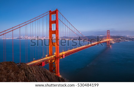 Classic panoramic view of famous Golden Gate Bridge seen from Battery Spencer viewpoint in beautiful post sunset twilight during blue hour at dusk in summer, San Francisco, California, USA #530484199