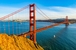 Classic panoramic view of famous Golden Gate Bridge seen from Battery Spencer viewpoint - San Francisco, California, USA