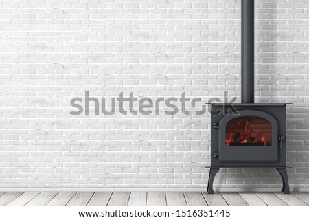 Classic Оpen Home Fireplace Stove with Chimney Pipe and Firewood Burning in Red Hot Flame in front of brick wall. 3d Rendering  Stock fotó ©