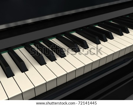 Classic piano keyboard- 3d render