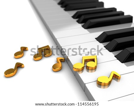 Classic piano with golden music notes, 3d illustration