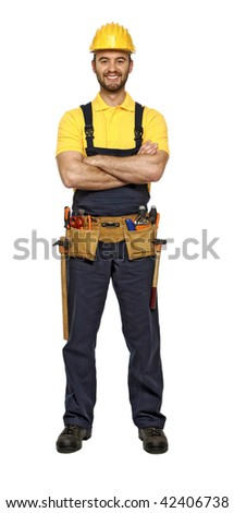classic pose of young caucasian confident smiling handyman isolated on white background