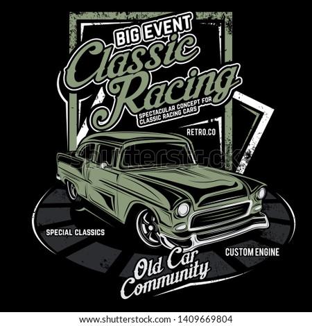 classic racing, racing car illustrations