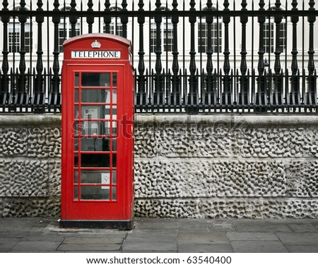 Classic red British telephone box in London