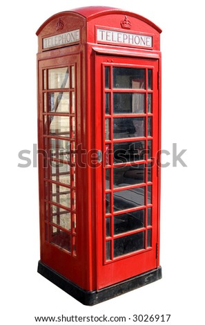Classic red British telephone box, isolated on a white background.
