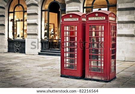 Classic red British telephone boxes in London